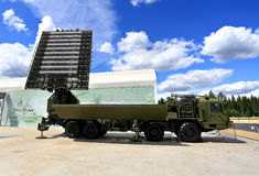 Mobile radar station or airspace control. Military mobile radar station, consisting of the all-around antenna and command post on a rotating platform Stock Photos