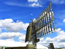 Mobile radar station or airspace control. Military mobile radar station, consisting of the all-around antenna and command post on a rotating platform Stock Images