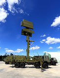 Mobile radar station or airspace control. Military mobile radar station, consisting of the all-around antenna and command post on a rotating platform Stock Photography
