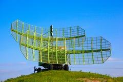 Mobile radar on wheels. Military mobile radar installation Stock Photo