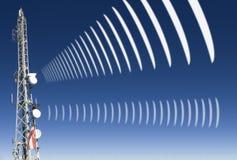 Mobile radio radiation. Mobile radio antenna with symbolic radiation Stock Photo