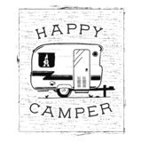 Mobile recreation. Happy Camper trailer in sketch silhouette style. Vintage hand drawn camp rv. House on wheels. Travel vector illustration