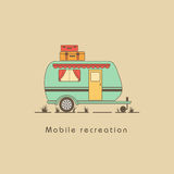 Mobile recreation. House on wheels. Transport trailer vector. House on wheels on a beige background with suitcases on the roof Royalty Free Stock Image