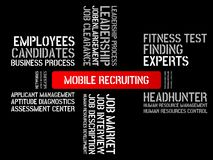 MOBILE RECRUITING - image with words associated with the topic RECRUITING, word, image, illustration Royalty Free Stock Photos