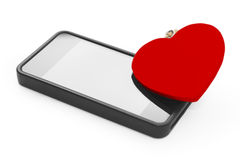Mobile with red heart. Love concept Royalty Free Stock Photography