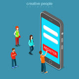 Mobile registration app login password flat isometric vector 3d Royalty Free Stock Images