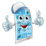 Mobile repair character. A cartoon mobile phone repair mascot with a cap and spanner doing a thumbs up Stock Images