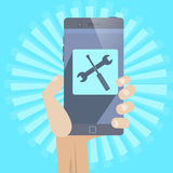 Mobile Repair. Smartphone repair ,support concept icon whit hand Stock Photos