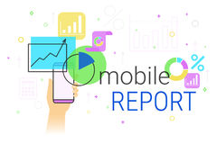 Mobile report and accounting on smartphone creative concept vector illustration Royalty Free Stock Images