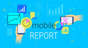 Mobile report and accounting on smartphone creative concept vector illustration. Human hands hold smart phone with analytics app for creating reports and data Royalty Free Stock Image