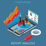 Mobile report analysis tool app flat isometric vector 3d. Mobile report analysis tool app flat 3d isometry isometric business concept web vector illustration Stock Photos