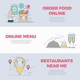 Mobile Restaurant food online order banner flat li. Restaurant cafe search food online order mobile service app application icon linear Flat style website Royalty Free Stock Images