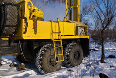 Mobile rig. Mobile bore installation for boring the bore holes Stock Photo