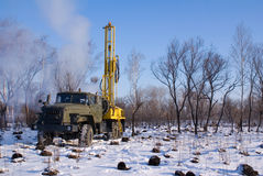 Mobile rig. Mobile bore installation for boring the bore holes Royalty Free Stock Image