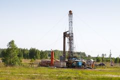Mobile rig at work drilling Stock Image