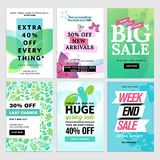 Mobile sale banners collection. Spring sale banners. Vector illustrations of online shopping website and mobile website banners, posters, newsletter designs Stock Image