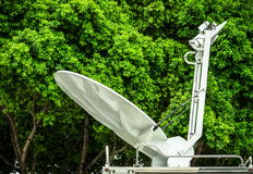 Mobile satellite broadcast trucks Stock Images