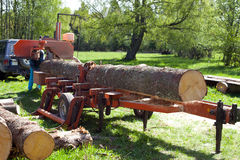 Mobile Sawmill. For flexible timber processing Royalty Free Stock Photo