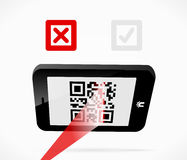 Mobile scan. Failed scan for QR-code from a smartphone Royalty Free Stock Photo