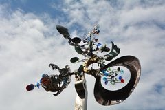 Mobile Sculpture against the sky at Salem, Oregon`s Transit Center Stock Photos