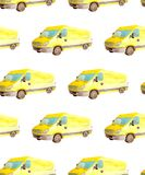 Seamless pattern transport and logistic of watercolor yellow van truck with gray wheels isolated on white background vector illustration