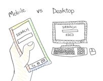 Mobile Search Desktop Searching Doodling Art Royalty Free Stock Photo