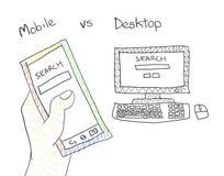 Mobile Search Desktop Searching Doodling Art Royalty Free Stock Photo