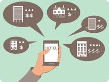 Mobile search for hotels Royalty Free Stock Image