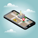 Mobile searching. Looking for bar or wine shop. Isometric mobile and white wine. Geo tracking. Map. City life. Flat 3d vector isometric illustration. Concept Stock Photography