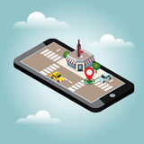 Mobile searching. Looking for bar or wine shop. Isometric mobile and wine. Geo tracking. Map. City life. Flat 3d vector isometric illustration. Concept picture Stock Photos
