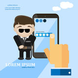 Mobile secure and protect flat vector card. Guard man and mobile phone vector illustration Stock Images
