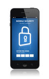 Mobile security concept. Modern smartphone with mobile security application interface on a screen.  on white background Stock Photo