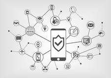 Mobile security concept for smart phones. Vector illustration background Royalty Free Stock Photos