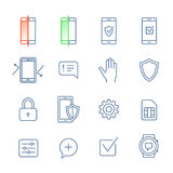 Mobile security icons. Mobile security icon set. Vector icons for mobile security app or network operator website Royalty Free Stock Image