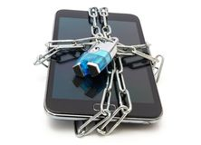 Mobile security with mobile phone and lock Royalty Free Stock Image