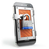 Mobile security or protection concept. Smartphone with padlock. Stock Photos