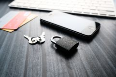 Mobile phone security and theft - smartphone data theft concept Royalty Free Stock Photo