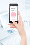 Mobile security smartphone fingerprint scanning Stock Photo