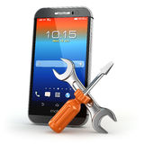 Mobile service concept. Smarthone with tools. Stock Images