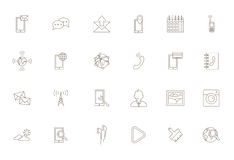 Mobile services black icons set Stock Photo