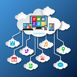 Mobile services cloud paper Royalty Free Stock Photos