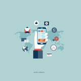 Mobile services. Concept. Hand holding the phone with icons around it. Flat  illustration Stock Image