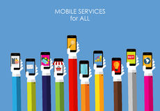 Mobile Services Flat Concept for Web Marketing. Mobile Services for All  Flat Concept for Web Marketing. Vector Illustration Royalty Free Stock Photo