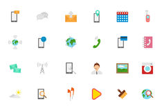Mobile services vector icons set. Set of 24 Mobile services vector icons Stock Images