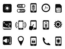 Mobile setting icons set. Isolated black mobile setting icons set from white background Royalty Free Stock Photos