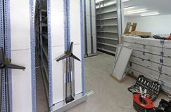 Mobile Shelves Construction Site stock photography