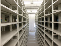 Mobile shelves in a modern storehouse Royalty Free Stock Photography