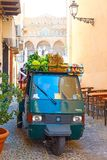 Mobile shop of greengrocer in Cefalu stock photography