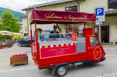 Mobile shop seller of Italian fruit ice cream Royalty Free Stock Photos