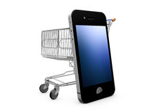 Mobile Shopping. Shopping chart and mobile phone white background Royalty Free Stock Photos